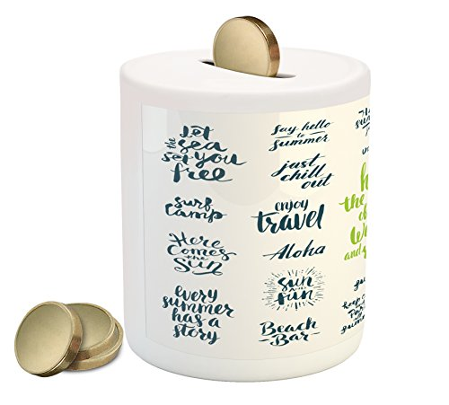 Vacation Piggy Bank (Quotes Piggy Bank by Lunarable, Summer Holidays Vacation Words