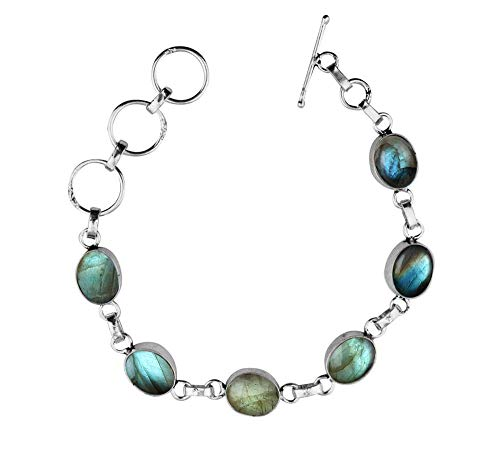 - Labradorite Bracelet Sterling Silver Moonstone Handmade Vintage Style for Women and Girls
