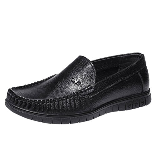 Freerun Men's Slip-on Sewing Casual Seasons Male Leather Loafers (7 B(M)US,black)