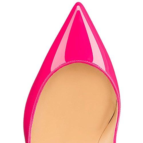 Mujer Rosa Tacones Zapatos Tacón De Wedding 10 Boda Cerrado Elashe Cm Altos Clásicas BPTqnq