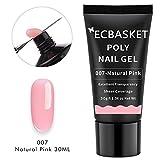 ECBASKET Poly Nail Extension Gel Nail Builder Gel Natural Pink 30ML Hybrid Gel Nail Thickening Nail Enhancement Tool