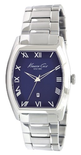 (Kenneth Cole Men's Quartz Watch with Blue Dial Analogue Display and Silver Stainless Steel Bracelet KC9049)