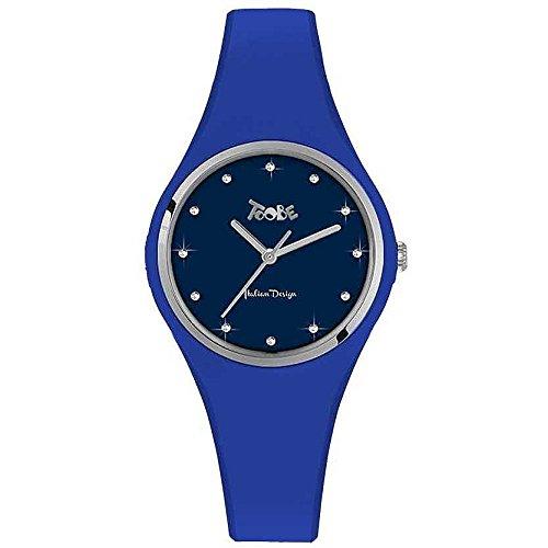 Reloj mujer Toobe Boccadamo de silicona antialérgica Azul Eléctrico, abrazadera Silver y índice de Swarovski