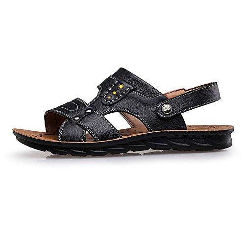 Shenn Mens Low Heel Two Wearing Summer Slingback Leather Sandals Black sYPAd6K
