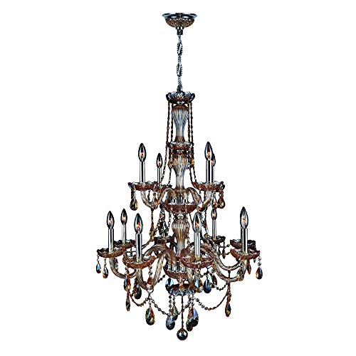 (Brilliance Lighting and Chandeliers Venetian Italian Style 12-Light Chrome Finish and Amber Crystal 28-inch 2-Tier Chandelier)
