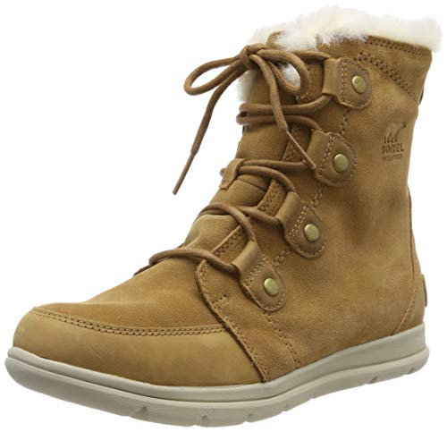 Sorel Womens Explorer Joan Snow Suede Rain Winter Ankle Waterproof Boots - Camel Brown/Ancient Fossil - 8 ()