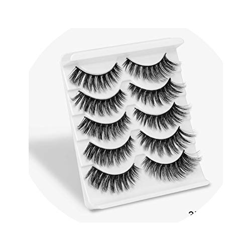tech-power 2/5 Pairs mixing Styles 3D Faux Mink Hair False Eyelashes Wispy Thick Lashes Handmade Soft Eye Makeup Extension ()