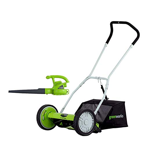 GreenWorks 16-Inch Reel Lawn Mower with Grass Catcher + 7 AMP Blower 1303802AZ