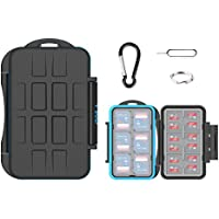 VKO SD SDHC SDXC Card Case Holder,Micro SD Card Case Holder,Memory Card Case Holder,Water-Resistant Anti-Shock Storage Protector Cover with Carabiner for 12 SD Cards & 24 Micro SD Cards(36 Slots)