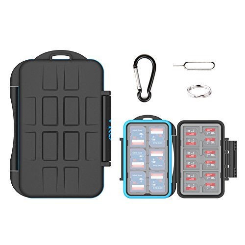 Holder Water Resistant (VKO SD SDHC SDXC Card Case Holder,Micro SD Card Case Holder,Memory Card Case Holder,Water-Resistant Anti-Shock Storage Protector Cover Carabiner 12 SD Cards & 24 Micro SD Cards(36 Slots))