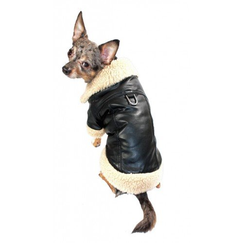 Classic Shearling Leatherette Coat for Dogs (LG (16-18'' Girth x 14'' Length))