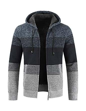 BESBOMIG Men Winter Warm Jacket Hooded Zip Sweater Outwear