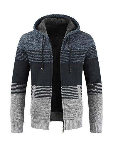 Thick for Warm XL Youth Blue Sweater Zipper amp;Navy 3XL BESBOMIG Casual Hooded Size Outwear Winter 2XL Cardigan Outdoor Jacket Coat Mens qEWwP8g
