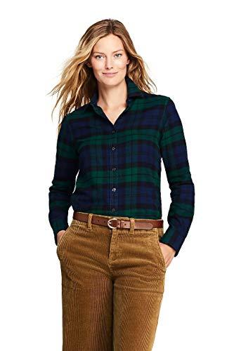 Lands' End Women's Petite Flannel Shirt, 10, Fresh Spruce Blackwatch Tartan