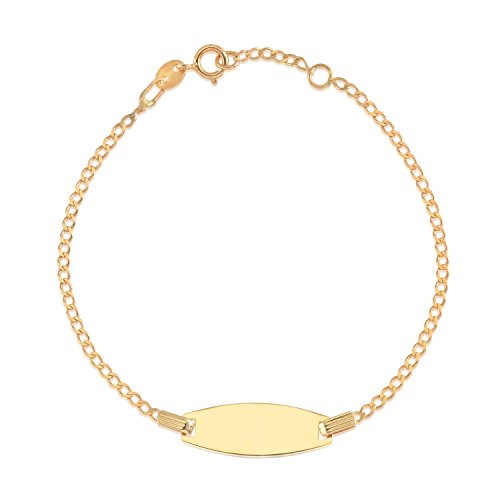 UNICORNJ 14K Yellow Gold Curb Chain Bowed ID Bracelet 6