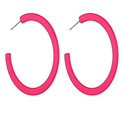 Barrel Hoop Earring Set - BNisBM New!!! Fluorescent Hoop Dangle Earring, Earrings for Womens Girls Sensitive Ears Gifts (Hot Pink)