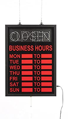 Displays2go Neon Open Sign with Hours of Operation, Lighted Business Hours Window Display - Red Illumination (LEDOPCL02)