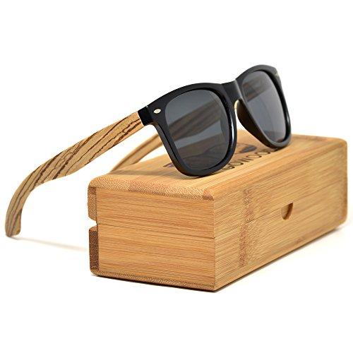 Zebra Wood Wayfarer Sunglasses For Men & Women with Polarized Lenses