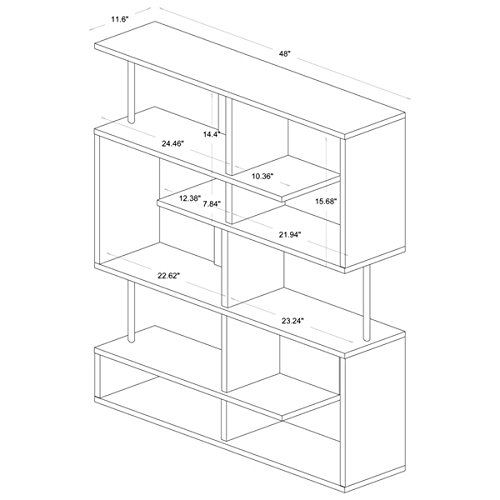 Media Bookshelves/ Storage Shelf TV Stands Kaleb Dark Brown/ Espresso Modern Storage Shelf - Assembly Required FP-5T-Tier Display (3A). 63.75'' H x 47 1/2'' W x 11 1/2'' L