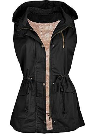 Ollie Arnes Women's Military-Inspired Utility Front Closure Drawstring Vest 84_BLACK S