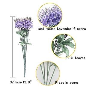 XYXCMOR Artificial Flowers 4 Bundle Lavender Plants Silk Flowers Arrangements Rustic Wedding Bouquet Decor for Vase Home Kitchen Garden Purple 4