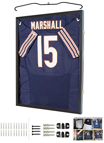 (UV Protection Baseball/Football Jersey Frame Display Case Shadow Box, Black)