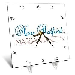 3dRose Alexis Design - American Cities Kentucky-Nebraska - New Bedford, Massachusetts Blue, red Text. Patriotic Home Town Design - 6x6 Desk Clock (dc_299503_1)