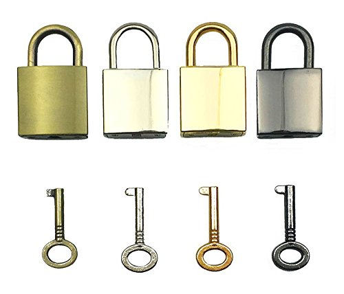 Gold Padlock (Hyamass 4pcs Mix Color Vintage Antique Style Mini Square Archaize Padlocks Key Lock with Keys)