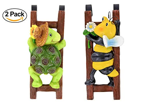 (2 Hanging Flower Pot Decorations Bugs Bee Turtle Garden Decor Statues Ceramic Clay Pot Crafts Hanging Plant Pot Hugger 6in)