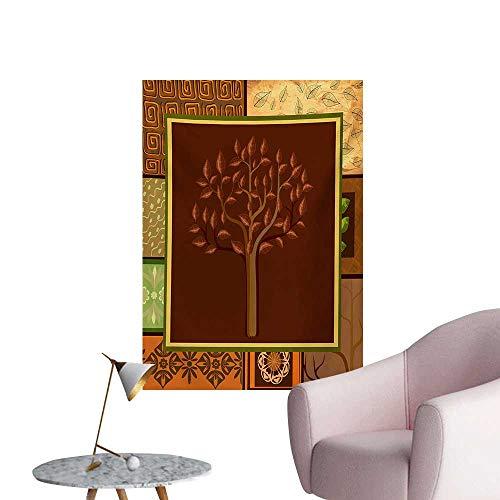 Anzhutwelve Primitive Poster Wall Decor Tree Figure on Ethnic Tribal Motifs Leaf Floral Ornaments Native Folk PatternsBrown Green W24 xL32 Poster Paper ()
