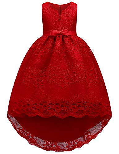 JOYMOM Tutu Dress for Girls, Kids O Neck Sleveless Removable Bowtie Pleated Flower Decor Tulle Mesh Bubble Skirt Go with Crinoline Waist Tight Top Bodice Summer Birthday Party Dress Red 140 (7-8Y)