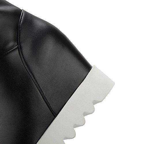 Balamasa Dames Metalen Ketting Platform Stiletto Ronde Neus Geïmiteerd Leren Laarzen Zwart
