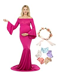 Sannyway Maternity Photography Dresses with Train Maxi Gown Off Shoulder Long Sleeve