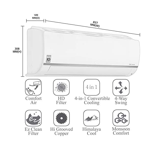 LG 1.0 Ton 5 Star Wi-Fi Inverter Split AC (Copper, LS-Q12SWZA, White, Ocean Black Fin, 2020 Model)