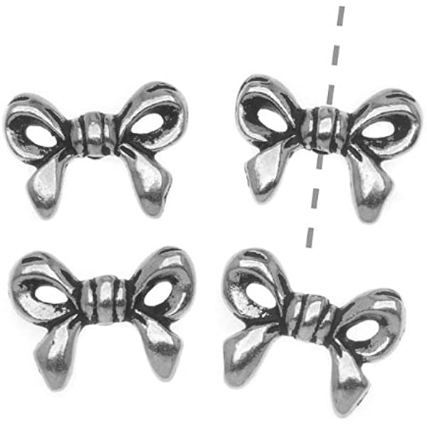 BOWS BEAD ANTIQUED SILVER PEWTER 12X15MM 10 CRAFTS JEWELRY BOW BEADS PB27