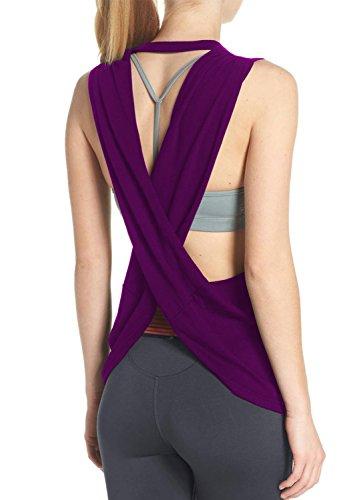Fihapyli Women's Sleeveless Open Back Shirt Flowy Yoga Top Loose Women Running Tops Backless Active Top Sports Workout Tanks Workout Shirt for Women Open Back Workout Top Exercise Tank Tops Purple S