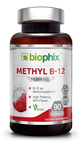 Methyl B-12 10000 mcg 90 Vegan Lozenges Mint Flavor Extra Strength - Supports Nervous System | Immune Health | Blood Flow | Metabolism | Brain Focus | Energy - 50 Mcg 90 Tablets