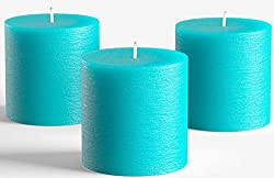 related image of Set of 3 Turquoise Pillar Candles 3