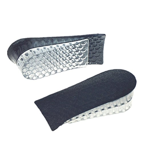 Two Layers Silicon Gel 1.8'' Height Breathable Adjustable Invisible Increase Taller Shoe Insole - 1 Pair Women Men Lift Height Increase Half Elevator Heels Inserts Shoe Pads (Black)