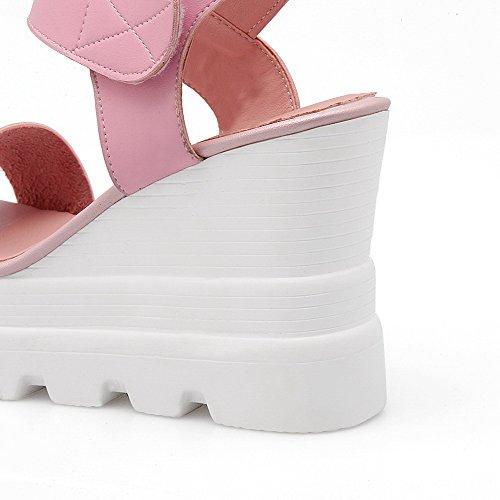 Amoonyfashion Kvinna Öppen Tå Höga Klackar Kardborre Diverse Färg Sandaler Rosa