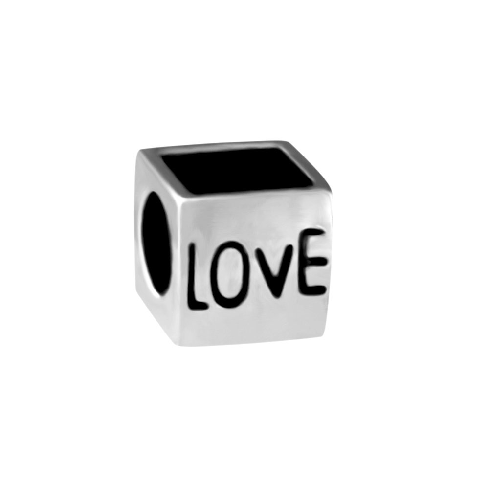 Quiges 925スターリングシルバー3d Loveキューブフォトビーズチャーム   B07CBKKZ5K