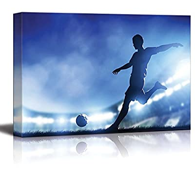 Football Soccer Match a Player Shooting on Goal Lights on The Stadium at Night - Canvas Art Wall Art - 32