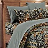 full size camo bed set - 20 Lakes Microfiber 6 Piece Camo Rustic Bed Sheet Set & Pillowcases(Gray, Full)