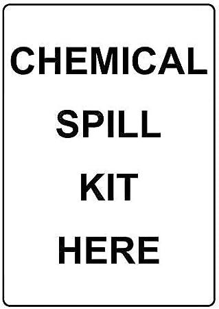 Montrwie - Cartel de Metal para decoración de Pared al Aire Libre, Kit de derrame químico aquí, señal de Advertencia de Metal, señal de Aviso de Seguridad, 8 x 12 cm