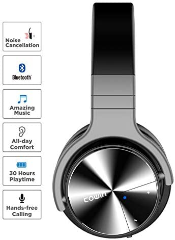 COWIN E7 PRO [Upgraded] Active Noise Cancelling Headphones Bluetooth Headphones with Microphone/Deep Bass Wireless Headphones Over Ear 30H Playtime for Travel/Work/TV/Computer/Cellphone – Black 41DpeKoifsL