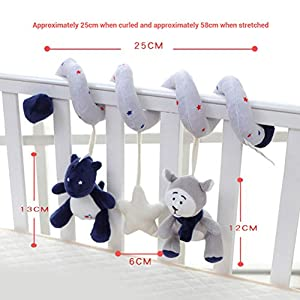 Baby Cute Animal Activity Spiral Stroller Hanging Toy with Ringing Bell Elephant Cartoon Stroller Arch Rattles Baby…