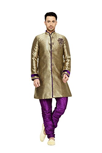 daindiashop-USA Indian Kurta Pajama Men Wedding Clothing Designer Dress Partywear Outfit In Antique Semi Indo Herry Bone by daindiashop-USA
