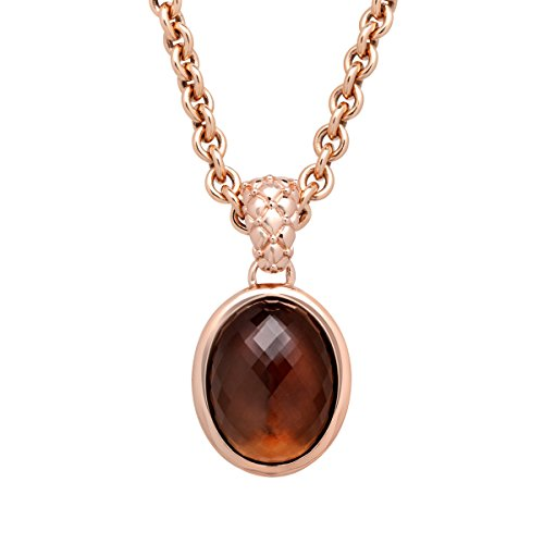 Finecraft 22 ct Smoky Quartz Pendant Necklace in 18K Rose Gold-Plated Bronze ()