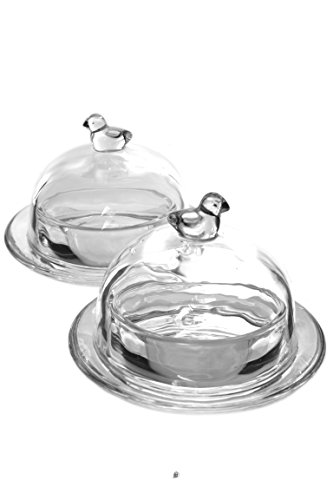 Set of 2 Clear Glass Round Individual Serving Butter Dish with Bird Finial (Bird Round Dish)