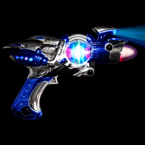 Large Blue Light Up Toy Gun With Sound Effects